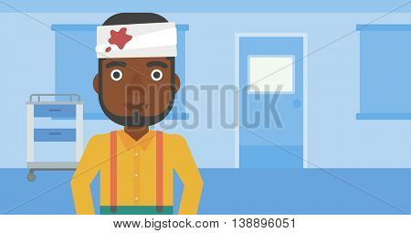 An african-american man with bandages over his head in the medical office. Vector flat design illustration. Horizontal layout.