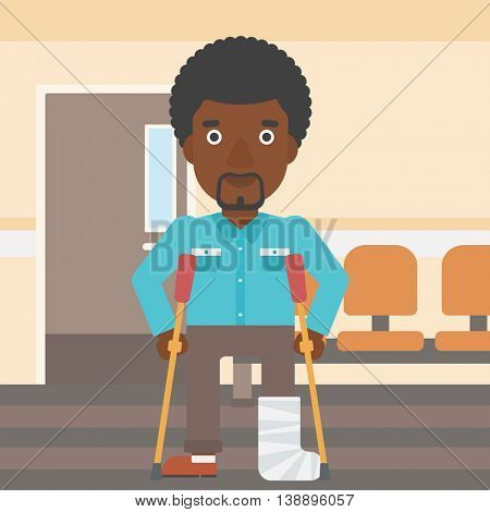 An african-american injured man with leg in plaster using crutches while standing in the hospital corridor. Vector flat design illustration. Square layout.