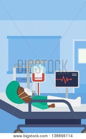 An african-american woman in oxygen mask lying in hospital ward with heart rate monitor and equipment for blood transfusion. Vector flat design illustration. Vertical layout.