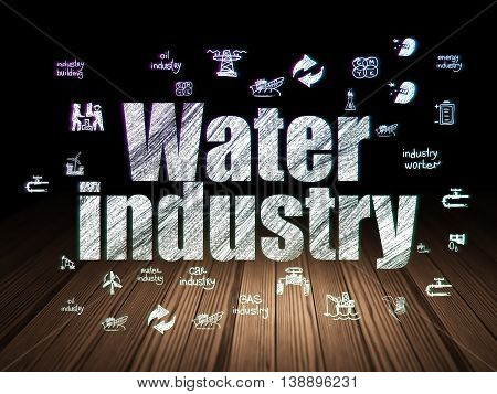 Industry concept: Glowing text Water Industry,  Hand Drawn Industry Icons in grunge dark room with Wooden Floor, black background