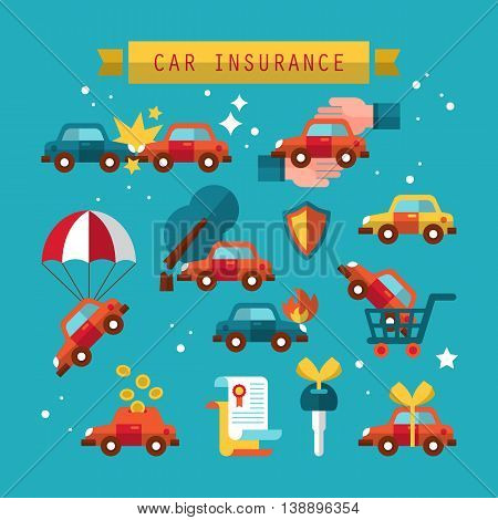 Car insurance icon set for graphic and web design. Vector illustration