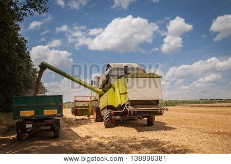 combine harvesting wheat and unloading grains into tractor trailer
