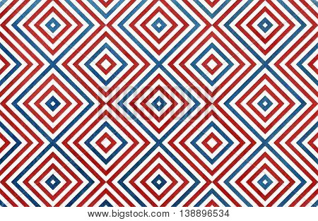 Geometrical Pattern In Dark Blue And Red Colors.