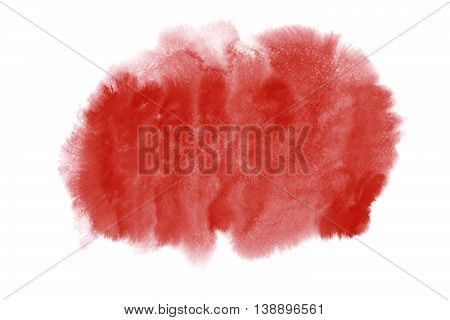Aurora Red Watercolor Stain Isolated On White Background.