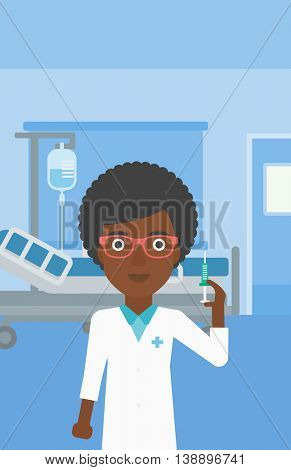An african-american young female doctor holding medical injection syringe on the background of hospital ward. Vector flat design illustration. Vertical layout.