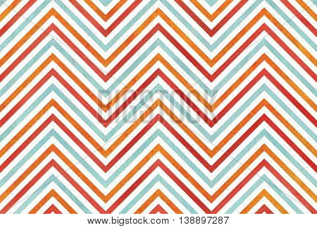 Watercolor Orange, Blue And Red Stripes Background, Chevron.