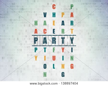 Entertainment, concept: Painted blue word Party in solving Crossword Puzzle on Digital Data Paper background
