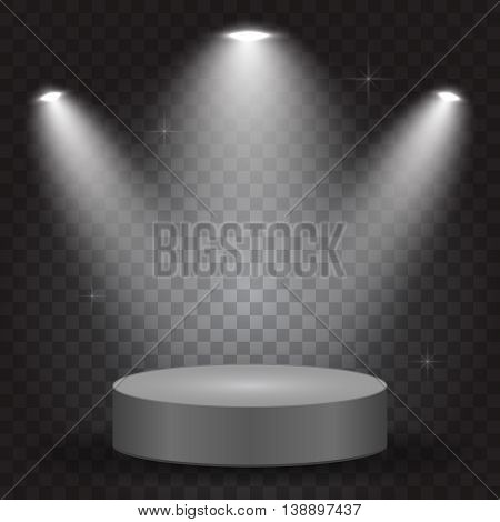 Bright lighting with spotlights, transparent effects on dark background, vector illustration