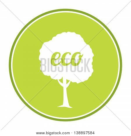 Vector flat eco illustration with the image of a tree on a green background.Background for advertising, leaflet, cards, invitation. eco labels