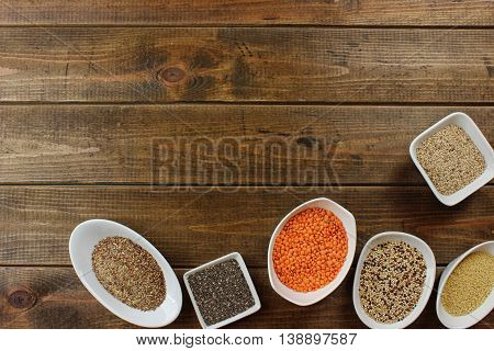 super food in bowls on wood Background