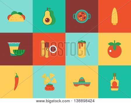Mexican food icons for web graphic and logo design