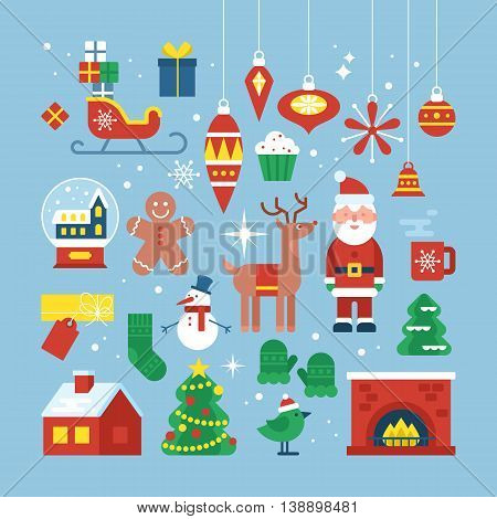 Christmas holiday flat stylish icon for web graphic and logo design