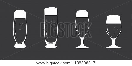 Vector an illustration with the image of a set of beer glasses with beer of white color.Beer glasses set Beer mugs.Pints of cold beer vector.