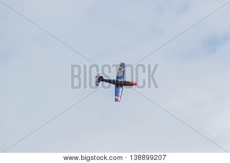 Leeuwarden, The Netherlands - June 10, 2016: Austian Pc-7 Pilatus During A Demonstration At The Roya
