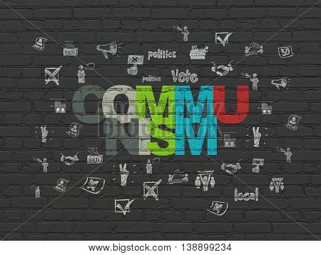 Political concept: Painted multicolor text Communism on Black Brick wall background with  Hand Drawn Politics Icons
