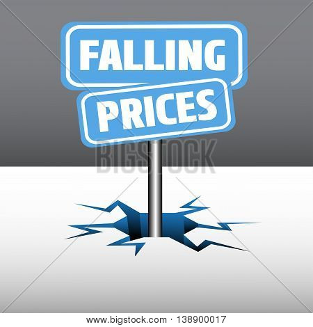 Abstract colorful illustration with two blue plates with the text falling prices, coming out from an ice crack