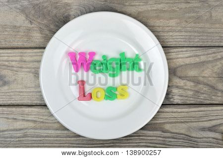 Weight loss word on white plate