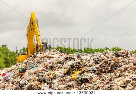 Songkhla, Thailand - August 4: Municipal Waste Disposal By Open Dump Procese.  Dump Site At Hatyai S
