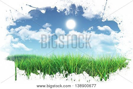 3D render of a grassy landscape against a blue sky with fluffy white clouds with a paint splatter frame
