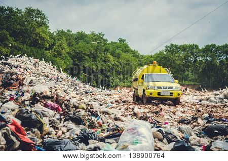 SONGKHLA THAILAND - AUGUST 4: Municipal waste disposal by open dump procese. Dump site at Hatyai Songkhla on AUGUST 4 2015 in SONGKHLA PROVINCE THAILAND