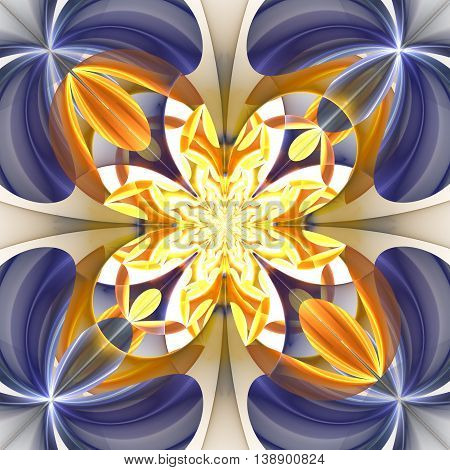 Diagonal symmetrical pattern of the flower petals. Blue and beige palette. Computer generated graphics.