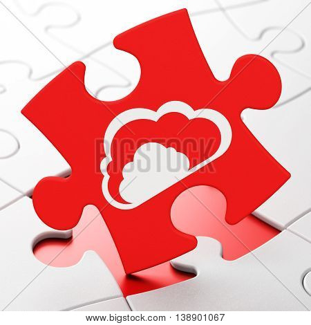 Cloud technology concept: Cloud on Red puzzle pieces background, 3D rendering