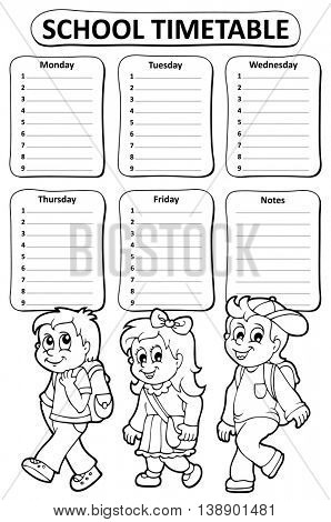 Black and white school timetable theme 5 - eps10 vector illustration.