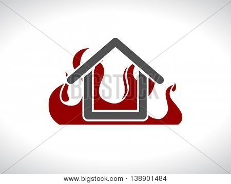 house with fire flame  web icon