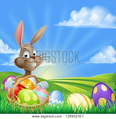 Cartoon Easter Bunny Scene