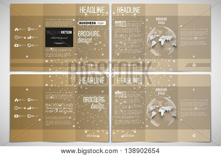 Vector set of tri-fold brochure design template on both sides with world globe element. Polygonal backdrop with connecting dots and lines, golden background, connection structure. Science vector