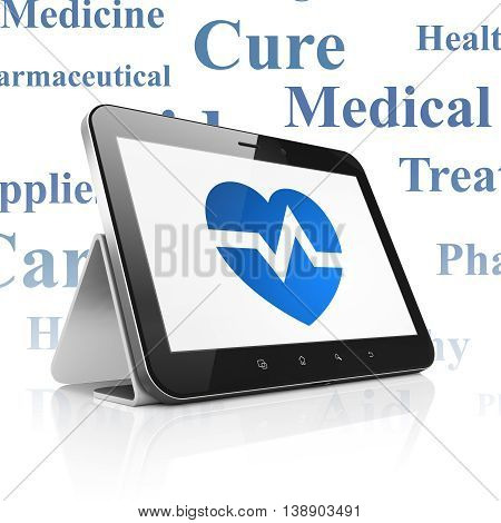 Medicine concept: Tablet Computer with  blue Heart icon on display,  Tag Cloud background, 3D rendering