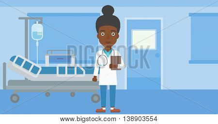 An african-american young female friendly doctor with stetoscope standing in hospital ward and carrying folder of patient or medical information. Vector flat design illustration. Horizontal layout.