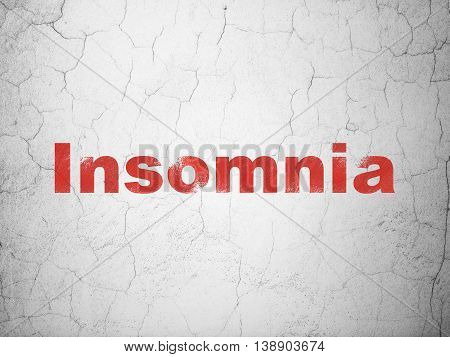 Health concept: Red Insomnia on textured concrete wall background