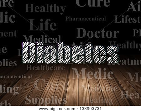 Medicine concept: Glowing text Diabetes in grunge dark room with Wooden Floor, black background with  Tag Cloud
