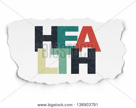 Medicine concept: Painted multicolor text Health on Torn Paper background