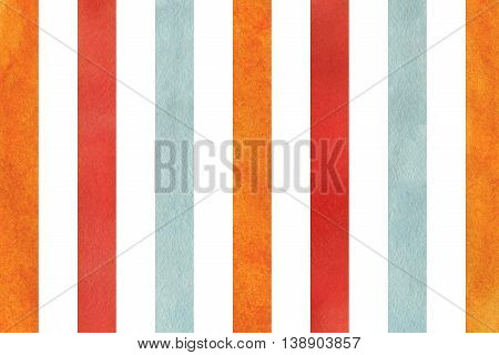 Watercolor Orange, Blue And Red Striped Background.