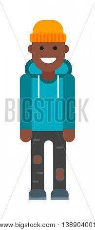 Afro American boy vector illustration.