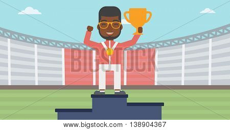 An african-american sportsman celebrating on the winners podium. Man with gold medal and trophy cup standing on the winners podium. Winner concept. Vector flat design illustration. Horizontal layout.