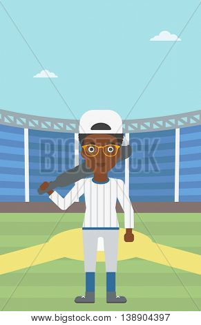 An african-american female baseball player standing on a baseball stadium. Female professional baseball player holding a bat on baseball field. Vector flat design illustration. Vertical layout.