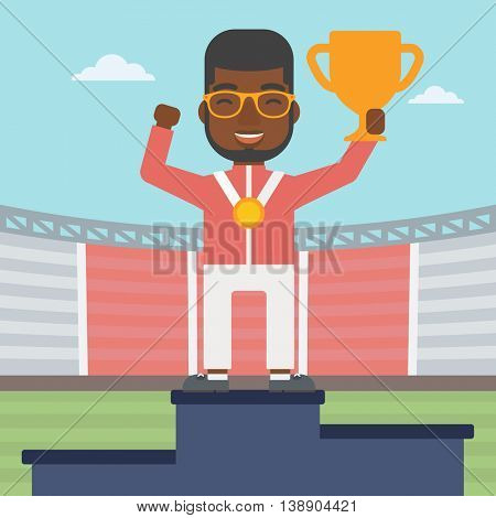 An african-american sportsman celebrating on the winners podium. Man with gold medal and trophy cup standing on the winners podium. Winner concept. Vector flat design illustration. Square layout.
