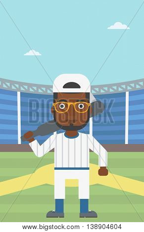 An african-american baseball player with the beard standing on a baseball stadium. Professional baseball player with a bat on his shoulder. Vector flat design illustration. Vertical layout.