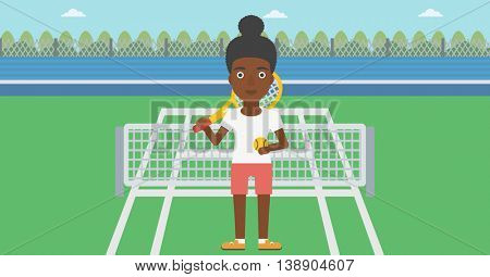 An african-american female tennis player standing on the tennis court. Tennis player holding a tennis racket and a ball. Young woman playing tennis. Vector flat design illustration. Horizontal layout.