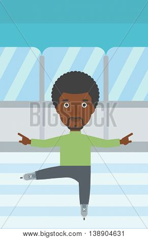 An african-american figure skater with the beard performing on indoor ice skating rink. Young hipster male figure skater dancing. Vector flat design illustration. Vertical layout.
