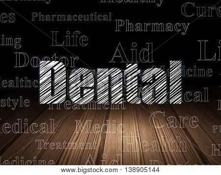 Healthcare concept: Glowing text Dental in grunge dark room with Wooden Floor, black background with  Tag Cloud