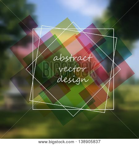 Vector nature blur background with frame for your text.