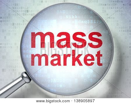 Marketing concept: magnifying optical glass with words Mass Market on digital background, 3D rendering