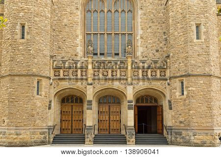 ADELAIDE, AUSTRALIA - APRIL, 2016 : The entrance of Bonython Hall of the University of Adelaide, partial view, in Adelaide, South Australia on April 18, 2016.