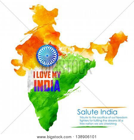 illustration of watercolor painting of Indian map fo I Love My India background