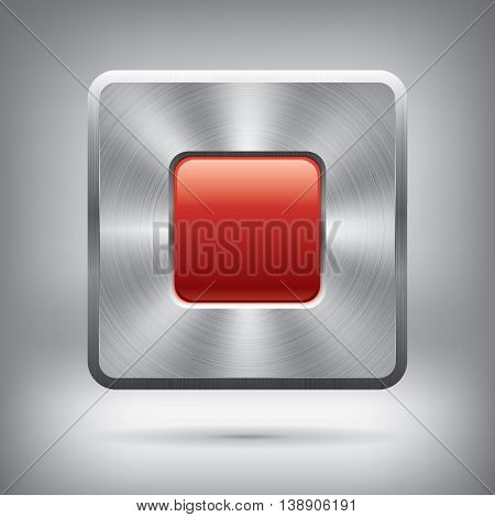 Metal button and glossy red square, vector metallic texture, square element for you project design