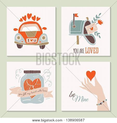Valentine's day creative hand drawing greeting card set with car mailbox and jar. Isolated vector illustration